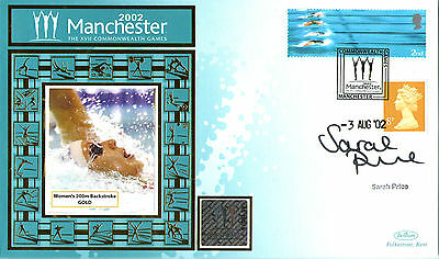 2002 Commonwealth Games Benham Cover Hand Signed By Swimmer Sarah Price