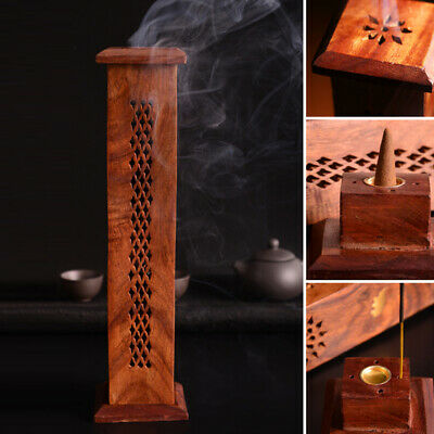 Wooden Holder Box Tower Incense Carving Hollow Buddha Burner New Durable