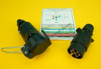 FREE UK Post - 7 Pin Plug & Flying Socket 12N for Extension Trailers, Horse Box