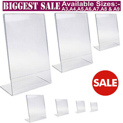 Acrylic Counter Poster Holder Perspex Leaflet Display Stand A3 A4 A5 A6 A7 A8 A9