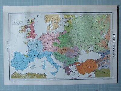 1952 Map ~ Europe Ethnographic French Italians English Scandinavians