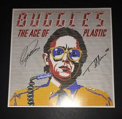 SIGNED TREVOR HORN GEOFF DOWNES THE BUGGLES 12x12 AGE OF PLASTIC PHOTO PROOF