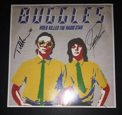 SIGNED TREVOR HORN GEOFF DOWNES THE BUGGLES 12x12 VIDEO KILLED THE RADIO STAR