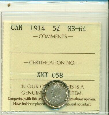 ICCS Canada 1914 5 cents MS-64 XMT 058