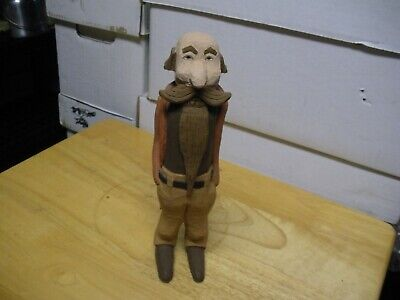 Wood Carved Hand Painted Old man With Long Beard and Long Feet Bald On Top