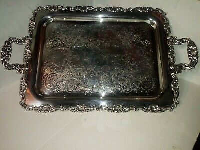Rare Antique Sheffield Reproduction SILVER PLATED ON COPPER Serving Tray