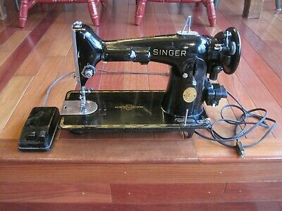 Vintage Singer 201 Sewing Machine 1947 AH179707 Egyptian Design Read