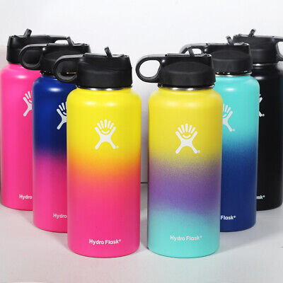 32/40oz Flask Vacuum Wide Mouth Insulated Water Bottles With Straw Lid Cap