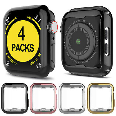 4 Pack Apple Watch Series 5/4/3/2 Case Cover Screen Protector 42mm 38mm 40 44mm