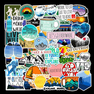 50 Hiking Adventure Outdoors Stickers Vinyl Laptop Luggage Skateboard Decals Lot