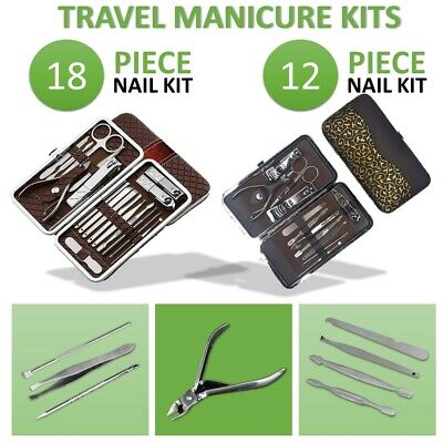 18/12 Manicure Pedicure Sets Stainless Nail Clippers Kit Cuticle Grooming Beauty