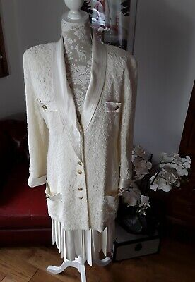 Vintage Frank Usher Ivory suit lace blazer jacket pleated skirt wedding UK 14