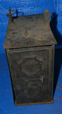 Antique French Morbier Clock Movement Time & Strike Clock Movement tin sides #3