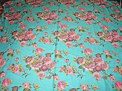 Vintage style cornflower blue pink floral print large fabric length / curtain