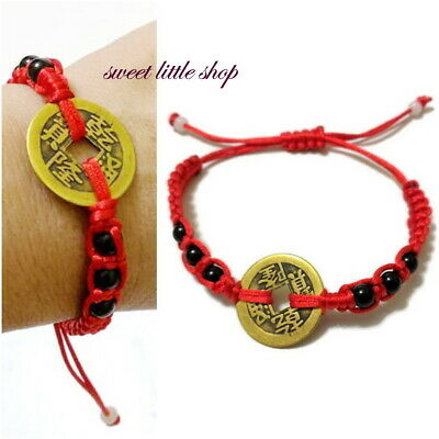 Feng Shui Lucky Red String Bracelet Coin Beaded Good Fortune Protection Wealth