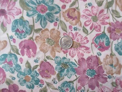 Vintage PINK GREEN BROWN FLOWERS On TAN 1970's COTTON BLEND Fabric-shy 3 yd