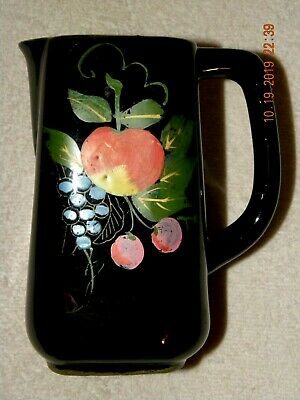 Vintage Hand Painted Red Clay Black Pitcher Red Fruit