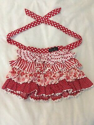 Oobi ruffled pink red skirt 1 layered April BNWT unique dots striped bow tie