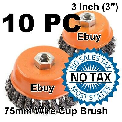 "10PC 3"" x 5/8"" 11 NC FINE Knot Wire Cup Brush Twist For 4-1/2"" Angle Grinders"