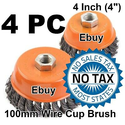 """4PC 4"""" x 5/8"""" 11 NC FINE Knot Wire Cup Brush Twist - For Angle Grinders Wheel"""