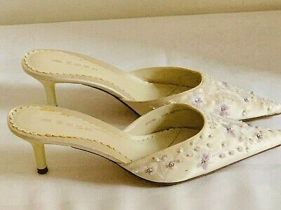 BNWOT Next Beautiful Cream Sequin Fabric Mules Size 5/EU38 – Wedding Shoes