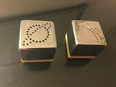 Art Deco 1930s Chase Polished Chrome Skyway Salt & Pepper Shakers White Bases