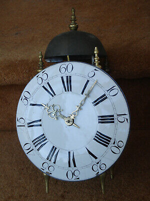 Unusual Later 18 C French Brass Framed 8 Day Rack Strike Repeating Lantern Clock