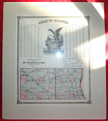 1875 Map of McHENRY & LAKE, Removed from Waner & Beers Atlas of Illinois