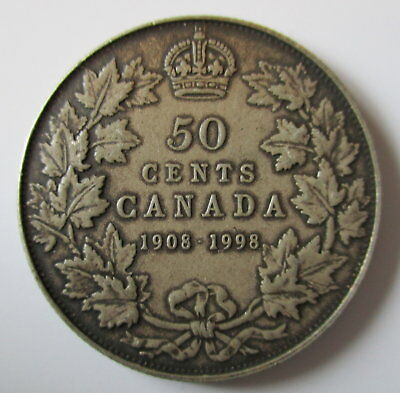 1998 Canada 1908-1998 Antique Finish Sterling Silver 50 Cents Proof Coin