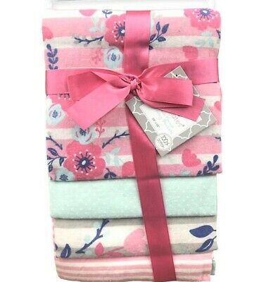 GIRLS SHEEP MOON PINK NEW RECEIVING BLANKETS SET 4 COTTON PACK BABY