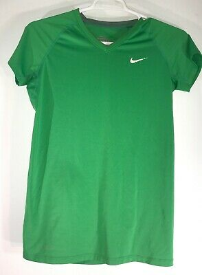 Nike Pro Combat Dri-Fit Girls / Boys V Neck SS Large Green Fitted T Shirt L