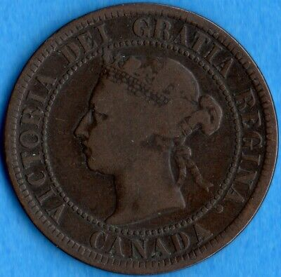 Canada 1882 H 1 Cent One Large Cent Coin - Very Good