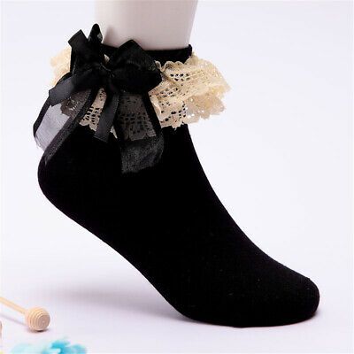 1 Pair Girls Toddlers Black Dark Blue Pink Lace Trim Frilly School Ankle Socks
