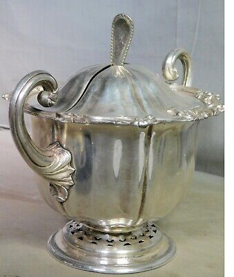 Antique Victorian Sheffield Silver Plate George I Spoon Top Sauce Split Lid Boat