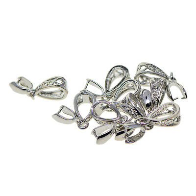 10Pcs Silver Pinch Clip Bail Clasp Charm Pendant Connector DIY Jewelry Finding