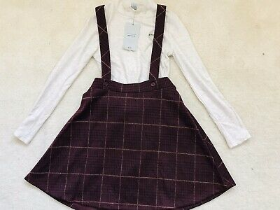 BNWT Girls Maroon Sparkly Pinsfore 2 Part Dress Age 8 Years From TU