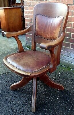 Edwardian antique Arts & Crafts solid oak leather swivel adjustable desk chair