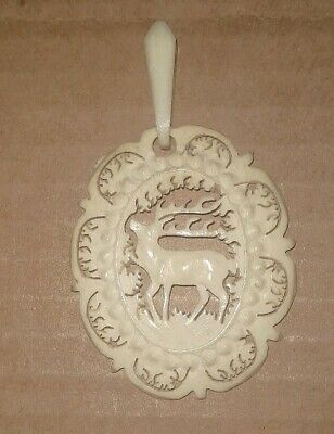 Antique German Or Austrian Hand-Carved Deer Bone Antler Pendant-Detailed-Bst Ofr