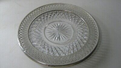Old Antique Heavy Crystal & Sterling Silver Overlay Rim Plate  Platter
