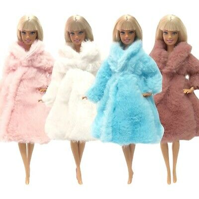 Beautiful long Soft fur coat jacket for Barbie doll clothes dress outfit gift