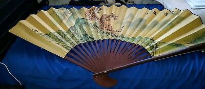 Vintage hand painted Asian Decorative Wall Extra large Fan With Artist's stamp