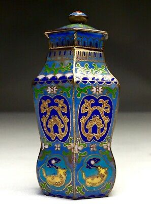 Old Antique Chinese Cloisonne Enamel Rare Hexagon Brass Bottle Vase China