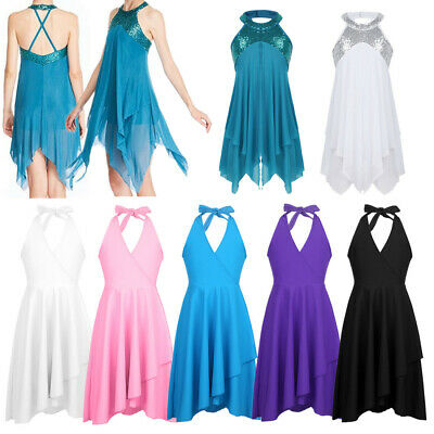 Kids Girls Lyrical Ballet Dance Dress Leotard Halter Irregular Skirt Dancewear