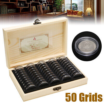50 Capsules Wooden Coins Display Storage Box Case Holder Collector Favorite