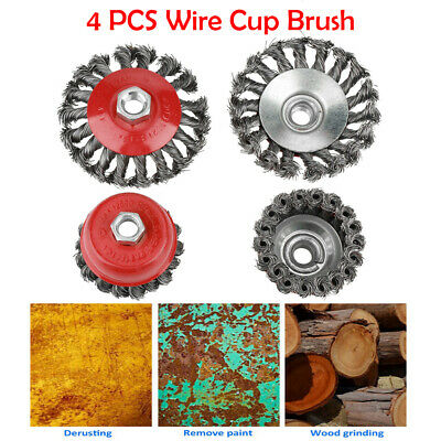 4 Pcs Rotary Twist Knot Flat Cup Wire Wheel Brush for Angle Grinder Rust Removal