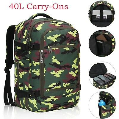 40L Flight Approved Carry-on Backpack Convertible Travel Weekender Luggage Camo