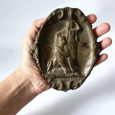 Antique Brass Plaque Dish Ashtray 3D Engraved Sphinx and Egyptian Woman Stamped