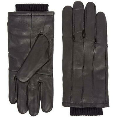 House of Fraser Howick Real Leather Cuff Gloves Mens Warm Winter Black R642