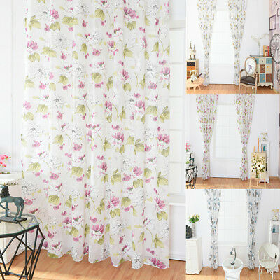 AM_ LK_ Lotus Flower Voile Rod Pocket Window Curtain Sheer Drape Home Bedroom De