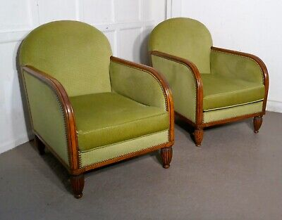 A Pair of French Art Deco Walnut Upholstered Club Chairs